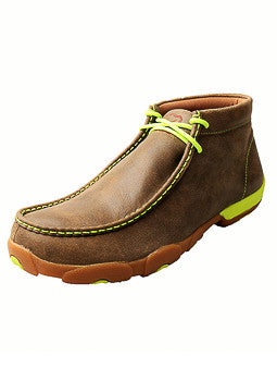 Twisted X Men's Brown and Lime Tall Driving Moc