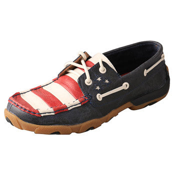 Twisted X Women's American Flag Short Driving Moc