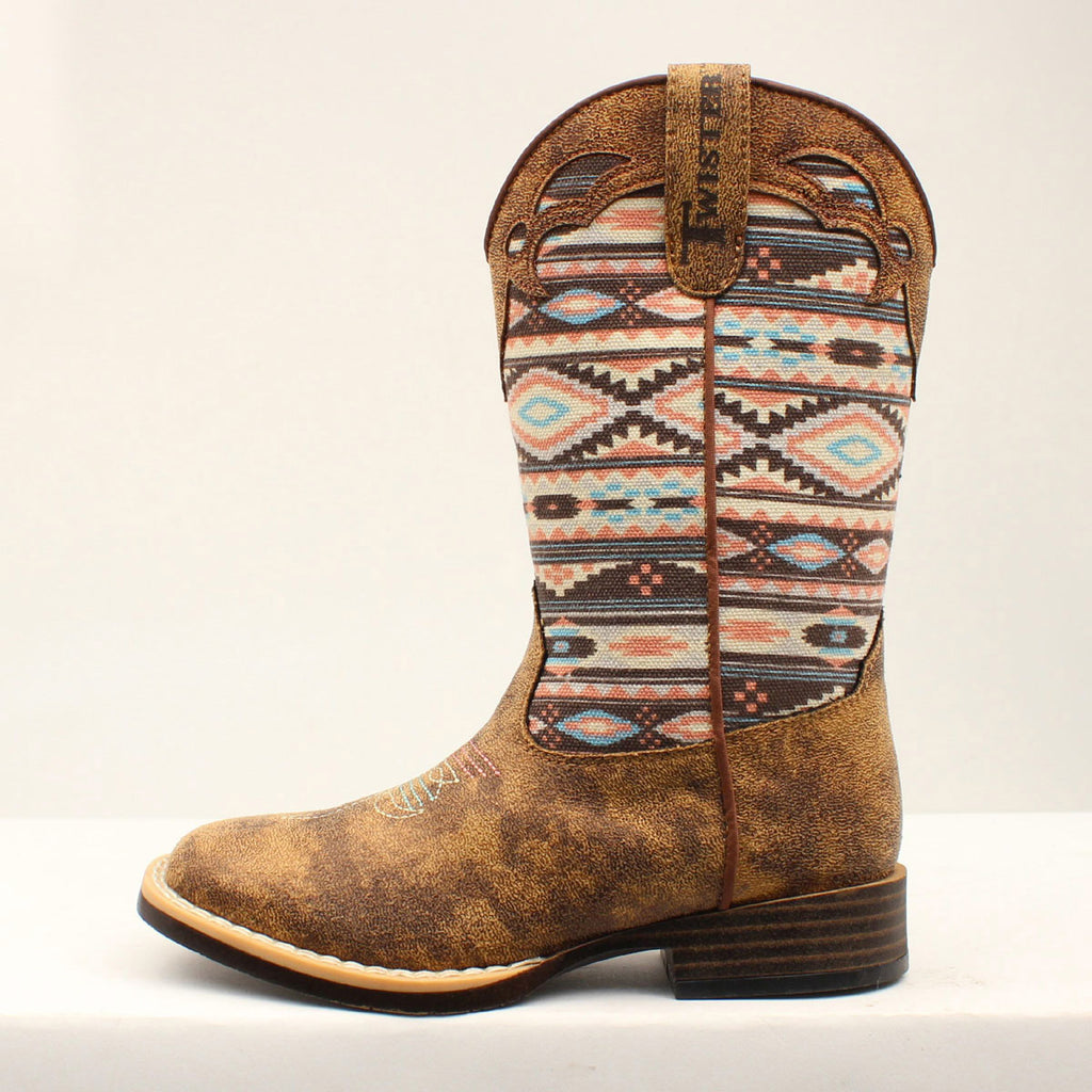 Kid's Brown and Pink Aztec Square Toe Boot