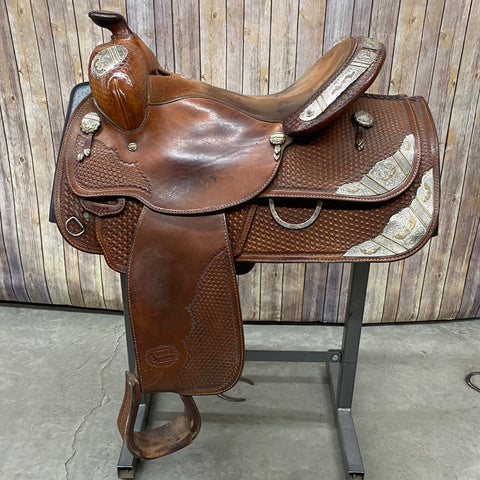 Used Show Saddle with Basketweave Background with Sliver in the Corners, 16 Inch Seat