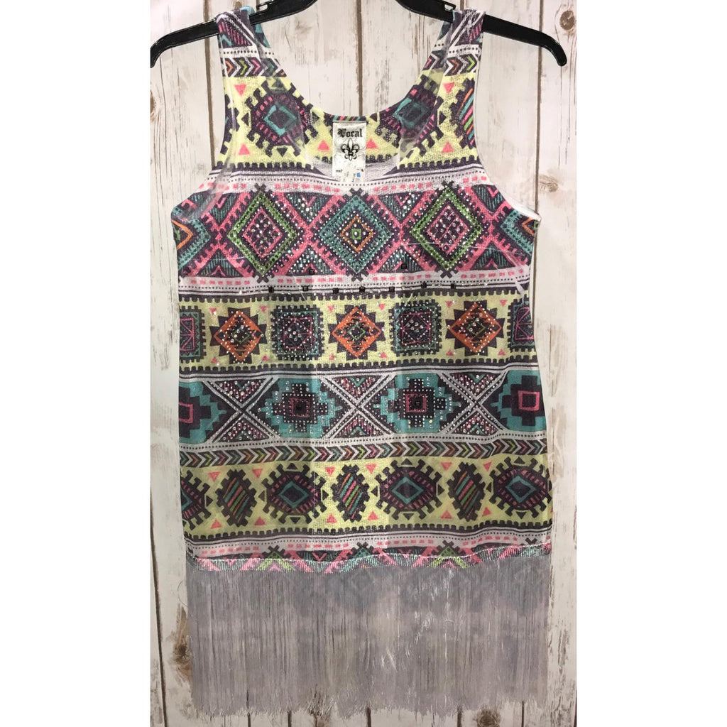 Vocal Multi Color Aztec & Fringe Top