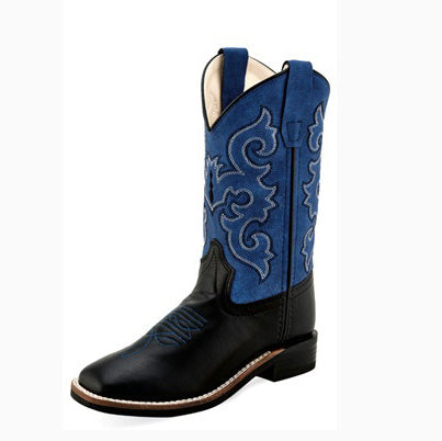 Old West Kid's Blue and Black Square Toe Boot