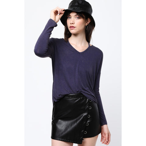 Women's Navy Strappy Neck Long Sleeve Shirt