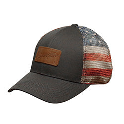 Wrangler Red White and Blue Leather Patch Cap