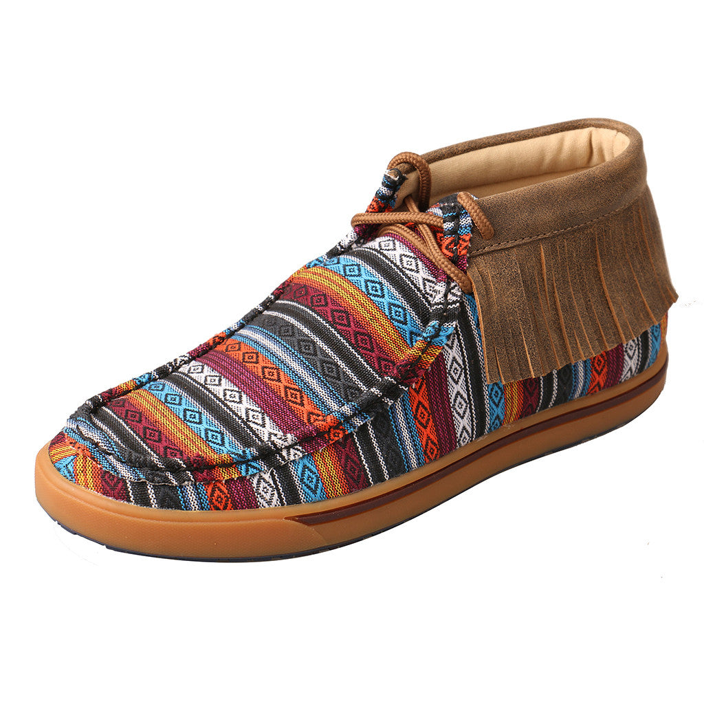 Twisted X Serape Canvas/Fringe Driving Moc