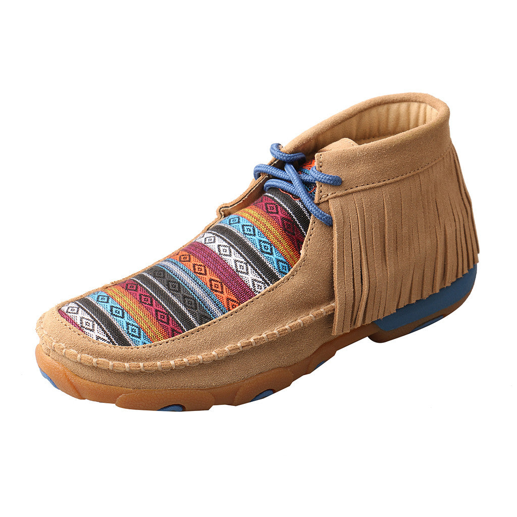 Twisted X Suede Fringe Serape Driving Moccasin
