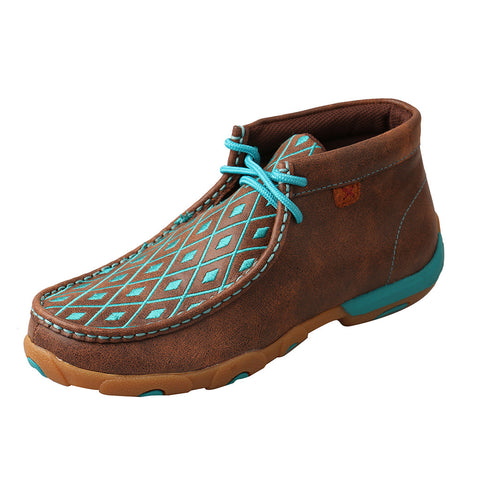 Twisted X Rich Brown and Turquoise Diamond Driving Moc