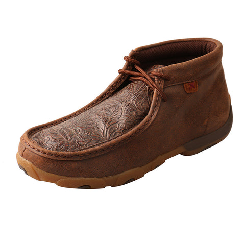 Twisted X Rich Chocolate Floral Tooled Driving Moc