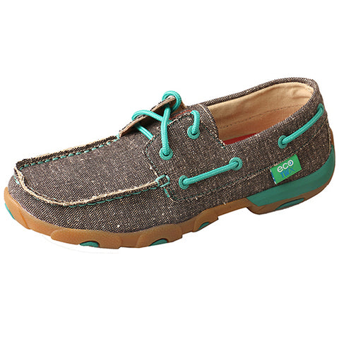 Twisted X Women's Eco TWX Dust and Teal Driving Moc