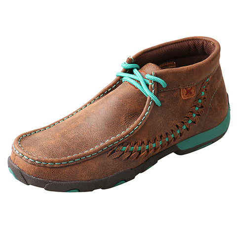 Twisted X Brown and Turquoise Side Weave Driving Moc