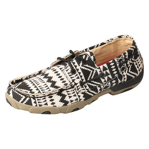 Twisted X Women's Black and White Aztec Mocc