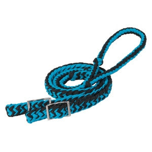 8' Hurricane Blue/Black Braided Nylon Barrel Rein