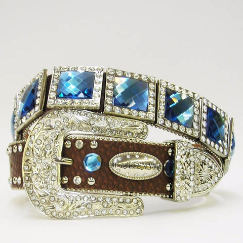 Brown Rhinestone Belt With Blue Prisms