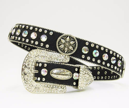 Black Rhinestone Belt With Floral Rosettes
