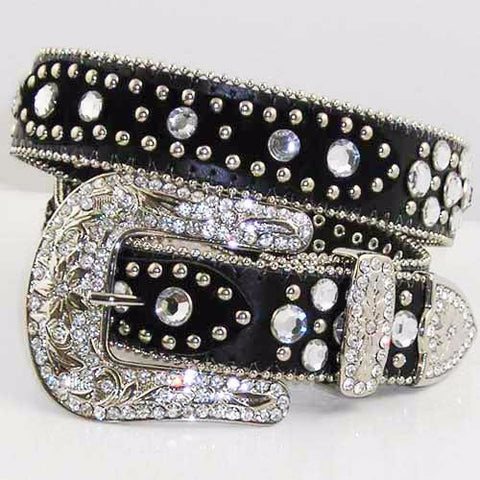 Black Rhinestone Belt With Studs