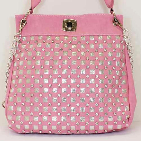 Pink and Silver Check Purse