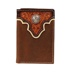 Men's Tan Trifold Overlay Wallet