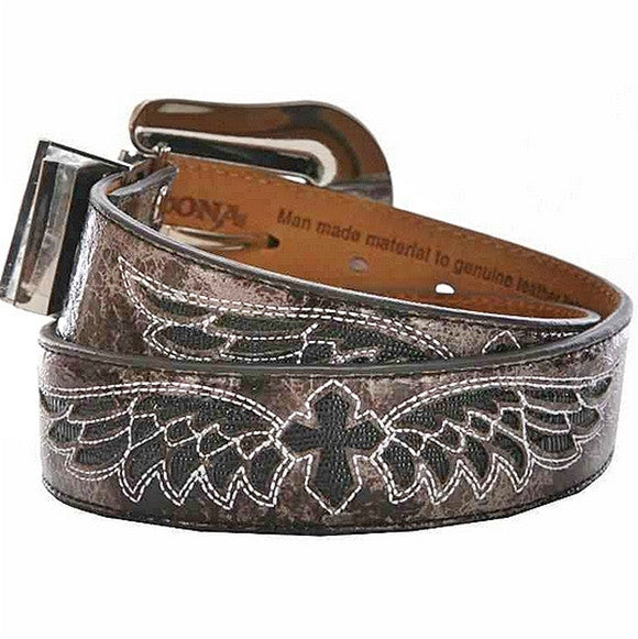 Women's Smokey Grey Wing and Cross Inlay Belt