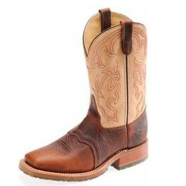 Double H Men's Cream and Brown Square Toe Boots