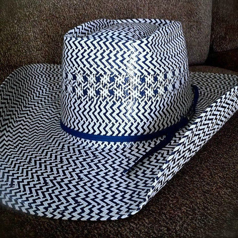 American Hat Co. Navy and White Weave Straw