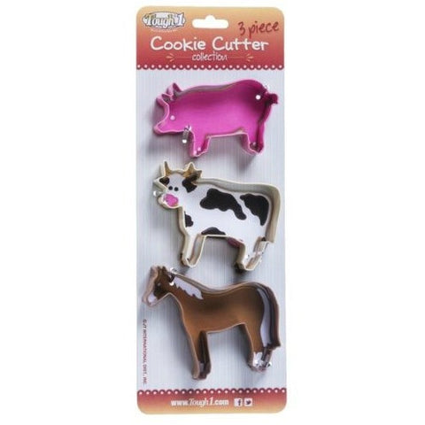 3 Piece Farm Animal Cookie Cutter Set