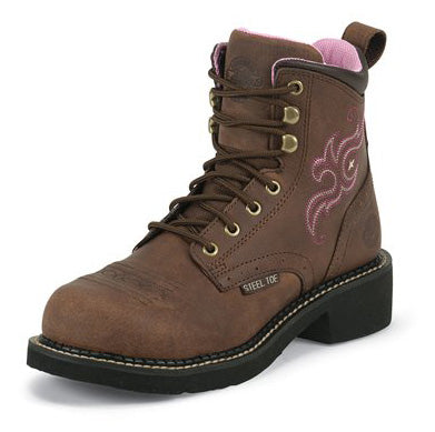 Justin Women's Aged Bark and Pink Stitched Steel Toe Boots