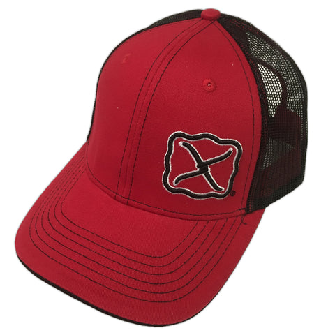 Twisted X Red and Black Offset Logo Patch Mesh Cap