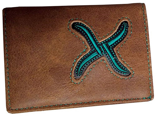 Twisted X Distressed Tri-fold Brown and Aqua Wallet