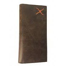 Brown with Orange Twisted X Logo Checkbook Cover