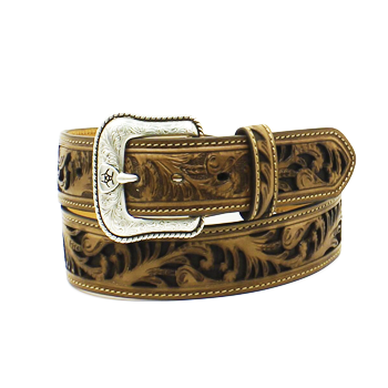Ariat Men's Chocolate Floral Stamped Belt