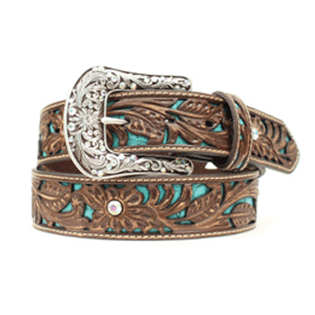 Ariat Ladies Brown Turquoise Cutout Floral Belt