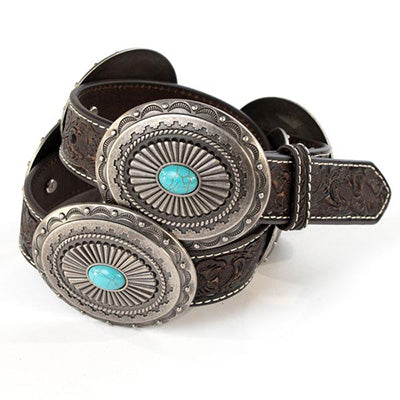 Ariat Brown Round Turquoise Concho Belt