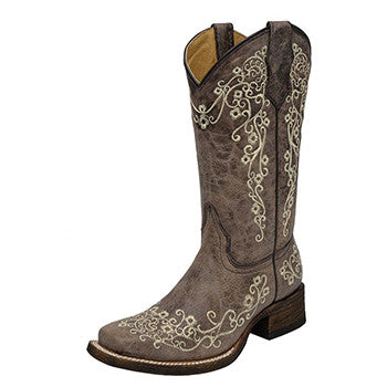 Corral Kid's Brown Bone Embroidered Square Toe