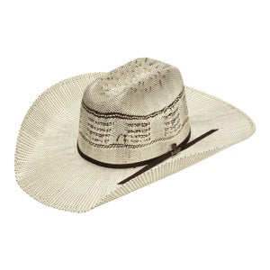 Ariat Ivory and Brown Bangora Straw Hat