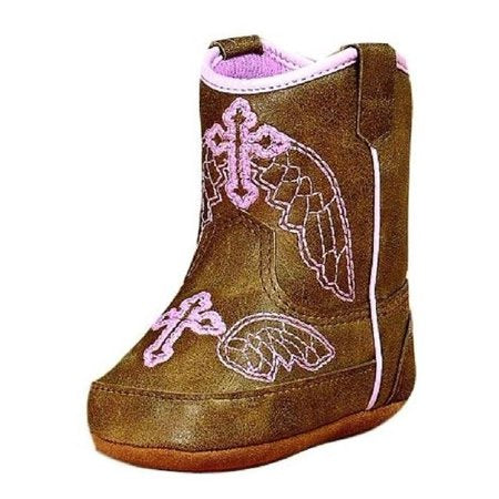Infant Brown Metallic Pink Winged Cross Embroidery Boots