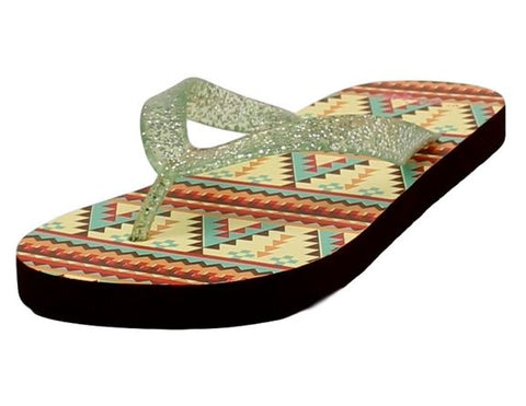 Womens Brown and Green Baylee Flip Flops