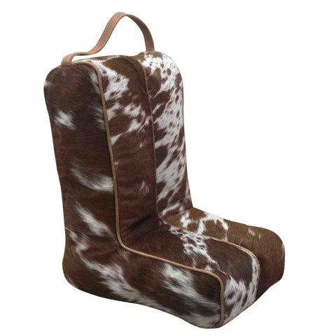 Brown and White Hide Boot Bag