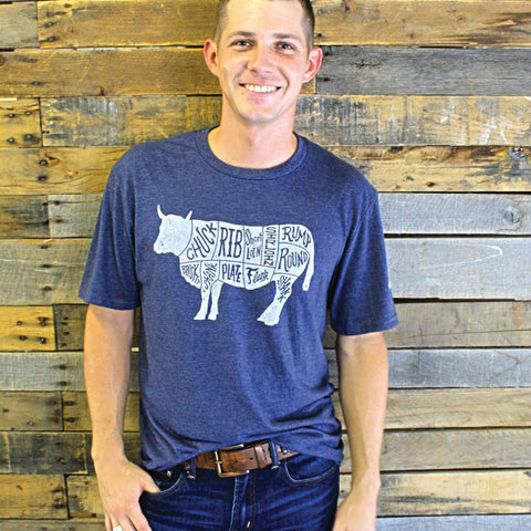 Mason Jar Label Navy Beef Cuts T-Shirt