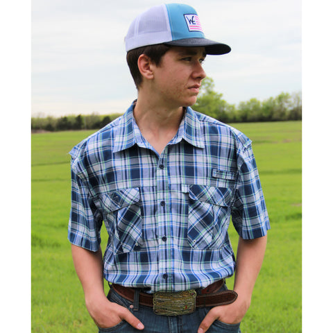 Blue Plaid Short Sleeve Fishing Shirt