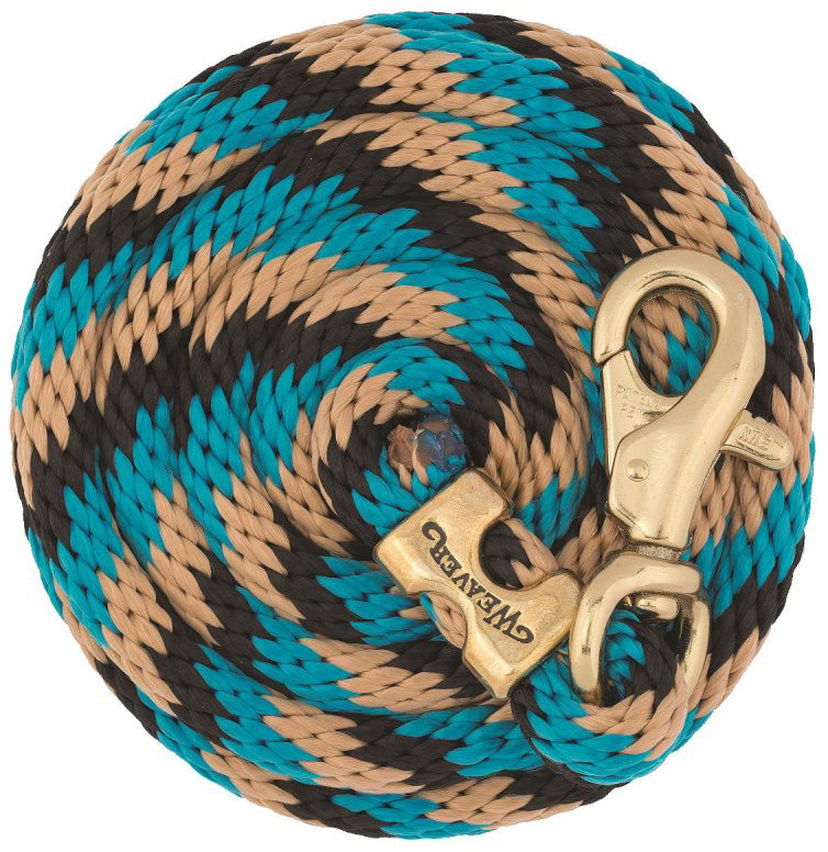 Poly Lead Rope with Brass Plated Bull Trigger Snap - Black/Turquoise