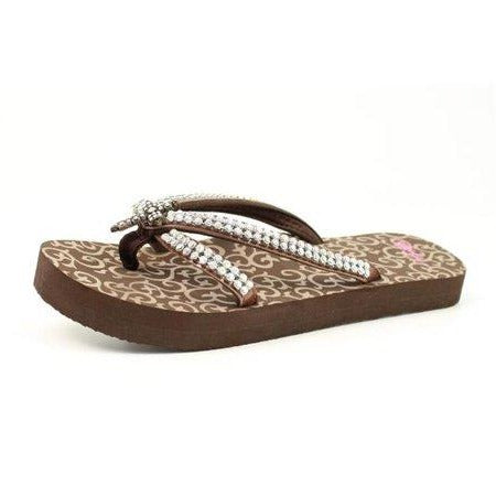 Womens Haylee Brown Cross Rhinestone Flip Flops