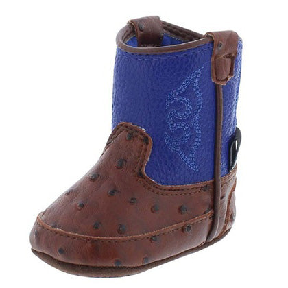 Baby Bucker Brown Ostrich and Blue Weston Boots