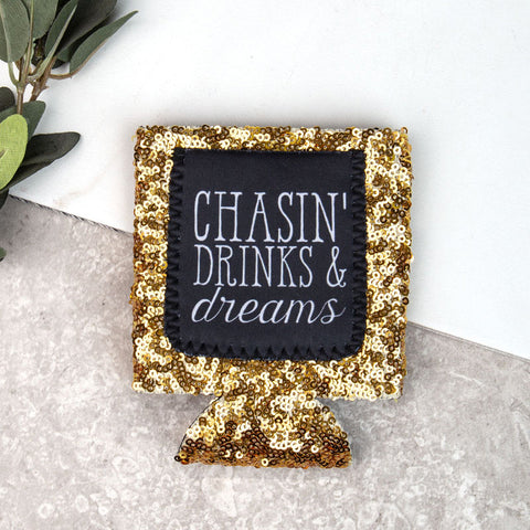 Gold Sequin Chasin' Koozie