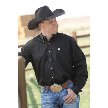 Cinch Solid Black Button Down Long Sleeve