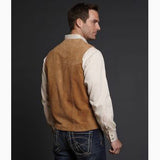 Men's Tan Suede Snap Vest