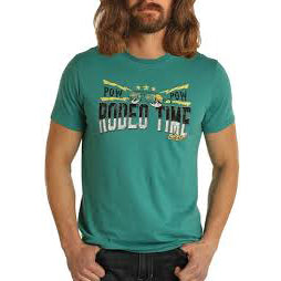 Men's Teal Rodeo Time Short Sleeve Shirt