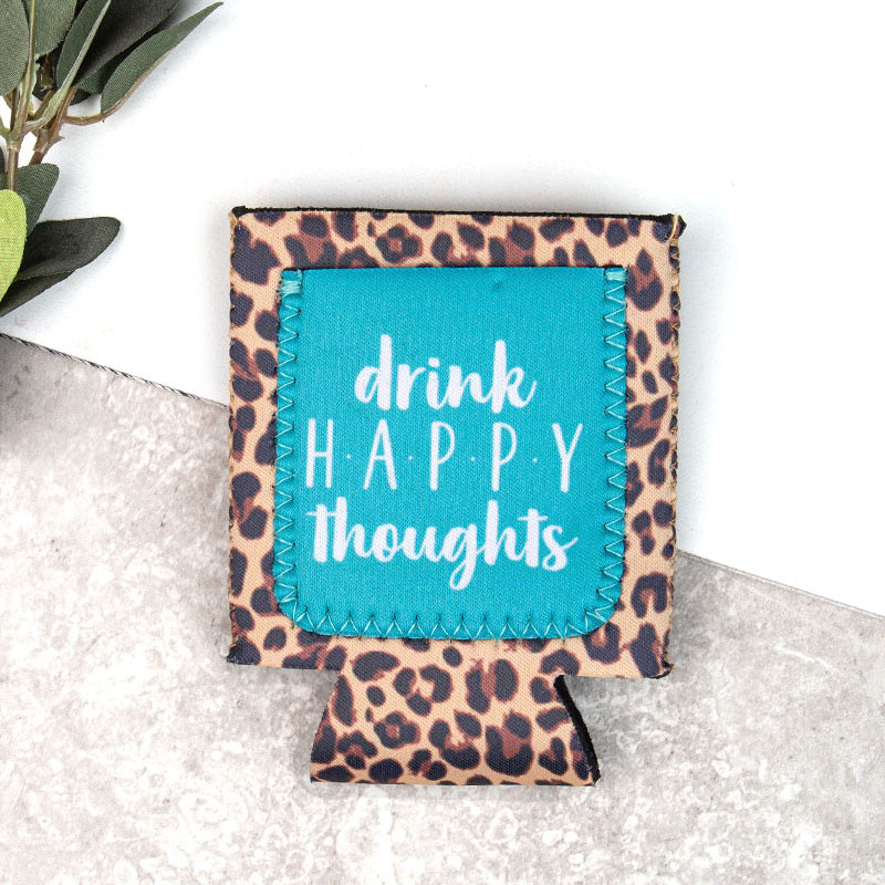 Cheetah Happy Thoughts Koozie