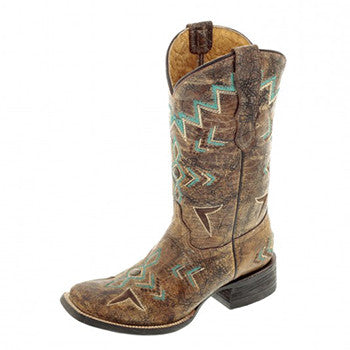 Corral Kid's Tan Bronze and Turquoise Square Toe