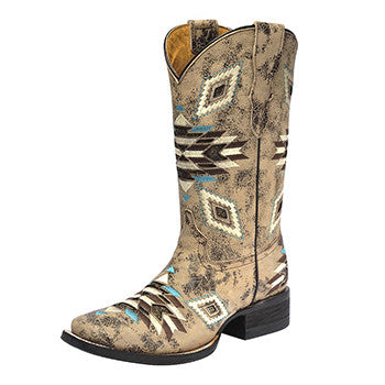 Corral Kid's Brown Distressed Aztec Square Toe