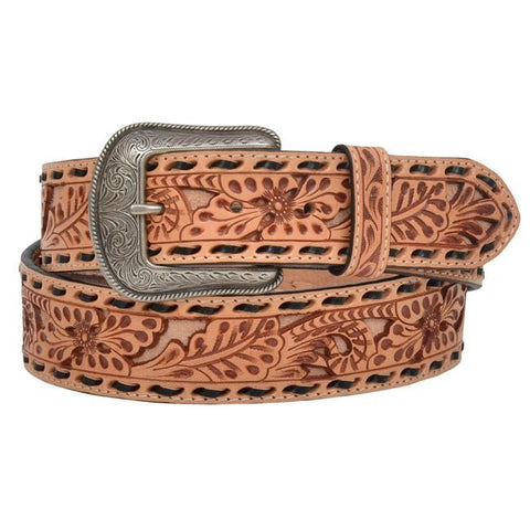3D Men's Floral Tooled Brown Lacing Belt
